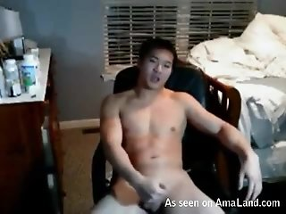 Brawny Chinese Dude Rubbing One Off For The Webcam